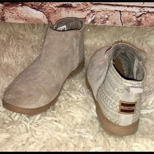 TOMS SUEDE Aztec Pattern Tan Suede Ankle Boots-3.5